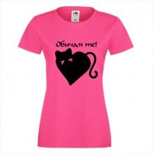 Тениска с печат - Романтика 004 - Обичам те, коте!